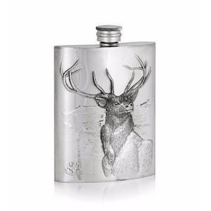 Stag Embossed Hip Flask