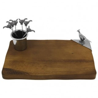 Pheasant Cheeseboard with Cocktail Picks and Holder