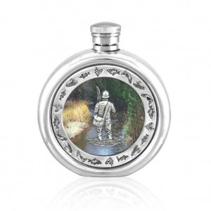 Fisherman Pewter Hip Flask
