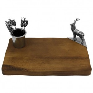 Stag Cheeseboard with Cocktail Picks and Holder