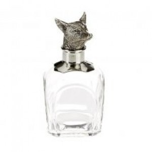 Fox Glass and Pewter Decanter