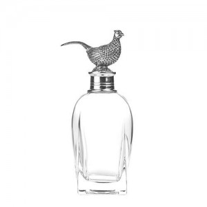 Pheasant Tall Pewter Decanter