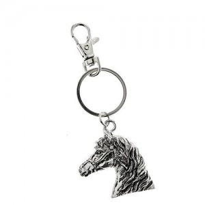 Horse Head Metal Keyring