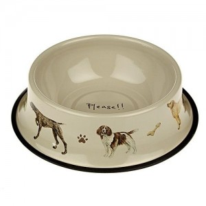 Dog Tinware Bowl 'Please'