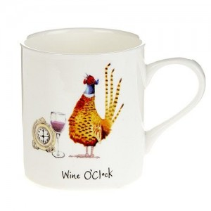 "Fine Bone China Mugs ""Wine O'Clock"""