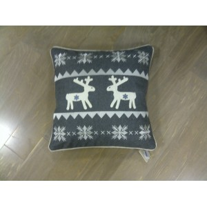 Reindeer & Star Cushion Grey