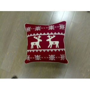 Reindeer & Star Cushion Red