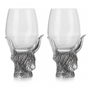 Highland Cow Double Wine Glass Set