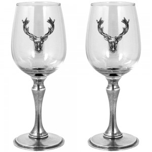 Stag Double Wine Glass Set